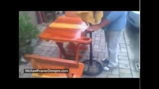 Folding Redwood Patio Set By Michael Frazier Designs