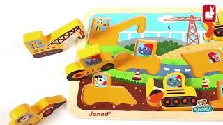 Dřevěné puzzle pro nejmenší Stavební auta Chunky J
