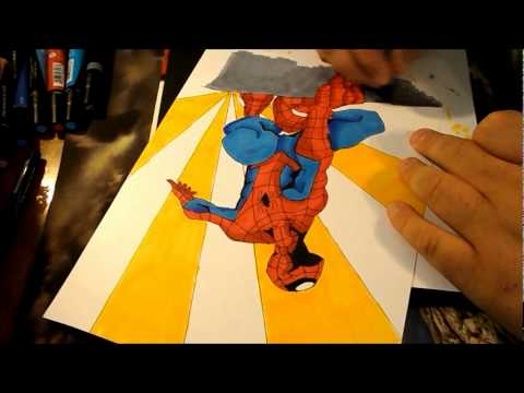 Spider-man Coloring with Prismacolor markers - YouTube