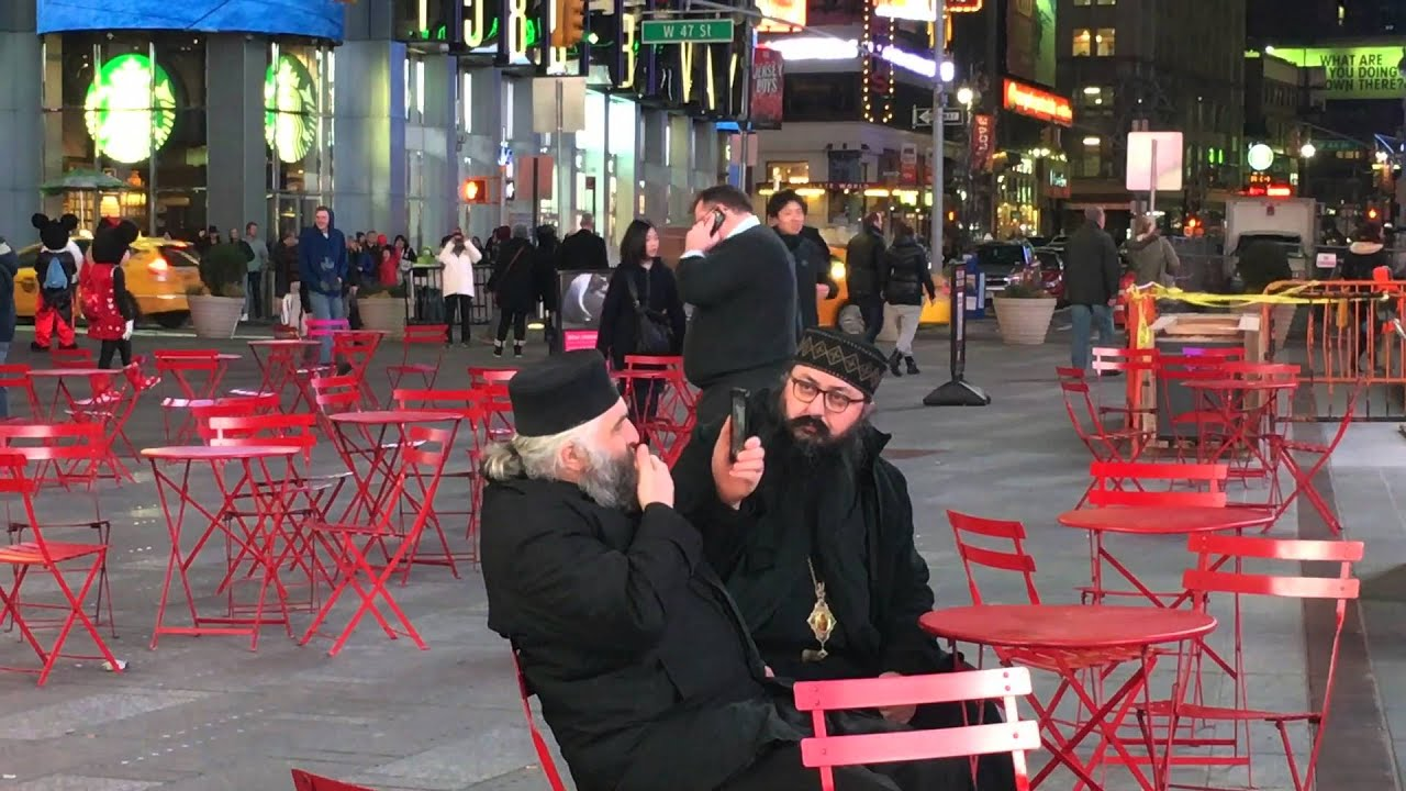 Orthodox monks in New York Time Square