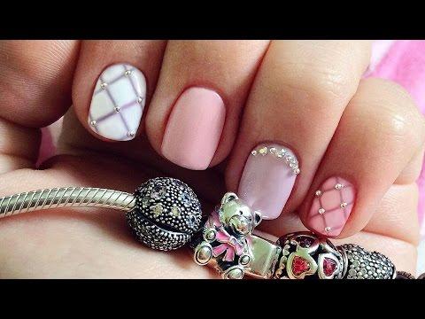 Дизайн ногтей гель-лак shellac - Дизайн стразами и жемчугом ...