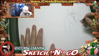 "Comic Book Artist - Sketch N Go - ""Sketching"" Zarkinar from CosmicWars™ - i Create Stories"