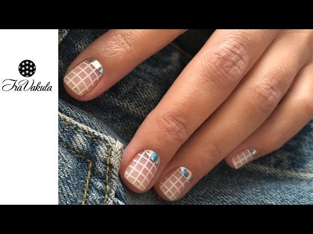 MOYOU stamping manicure - white grid & Minx Half Moon Manicure Nail Art #Ira Vakula