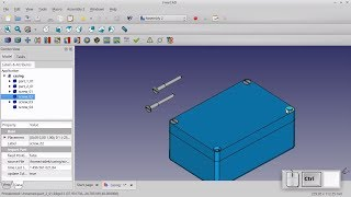 Freecad course -  Assembly,  example:  plastic casing