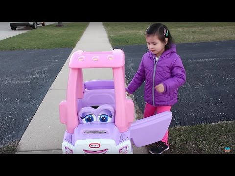 Sweet Girl Riding in the Little Tikes Cozy Coupe Princess Truck