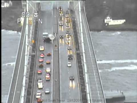 Worlds Luckiest Truck Driver on Forth Road Bridge east central Scotland