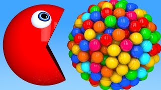 Learn Colors with PACMAN and 3D Lollipop Pingpong Farm Street Vehicle for Kid Children
