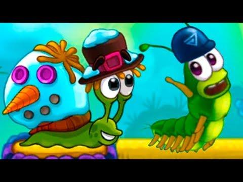 УЛИТКА БОБ 3 Финал #11 Кид в мультик игре Snail Bob. Снеговик и майнкрафт против гусеницы на пурум