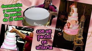COMO MONTAR PASTEL DE 6 PISOS/ PASTEL DE UTILERIA / DECORACON DE PASTEL DE 15 AÑOS