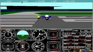 Microsoft Flight Simulator 3.0 gameplay (PC Game, 1988)