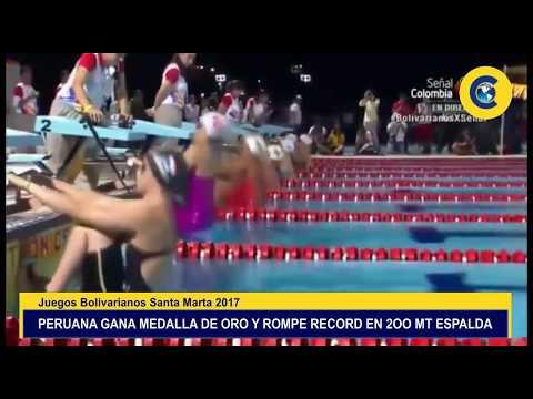 PERUANA GANA MEDALLA DE ORO Y ROMPE RECORD EN JUEGOS BOLIVARIANOS SANTA MARTA 2017 en Colombia