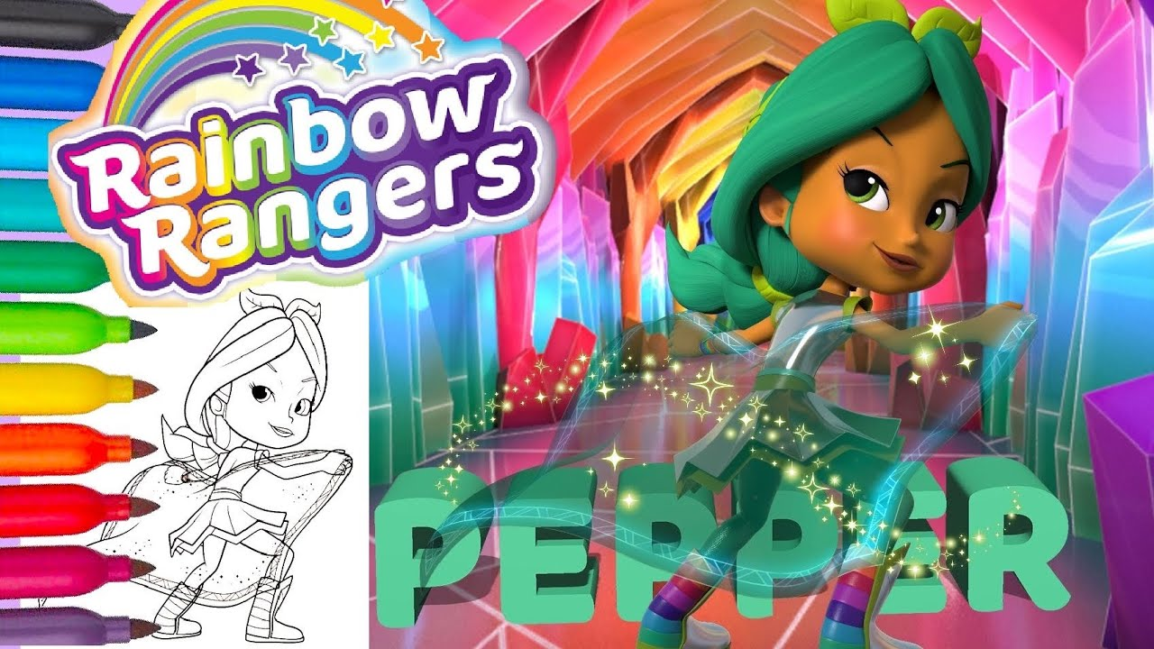 Rainbow Rangers Minty Pepper Mintz Coloring Pages And Nursery Rhymes Beautiful Girl Flying Hero Youtube