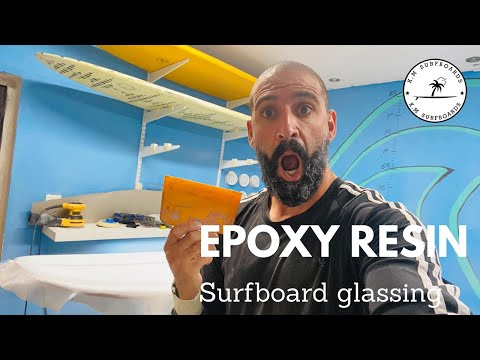 DIY surfboard glass 5'11 with epoxy resin and carbon fiber