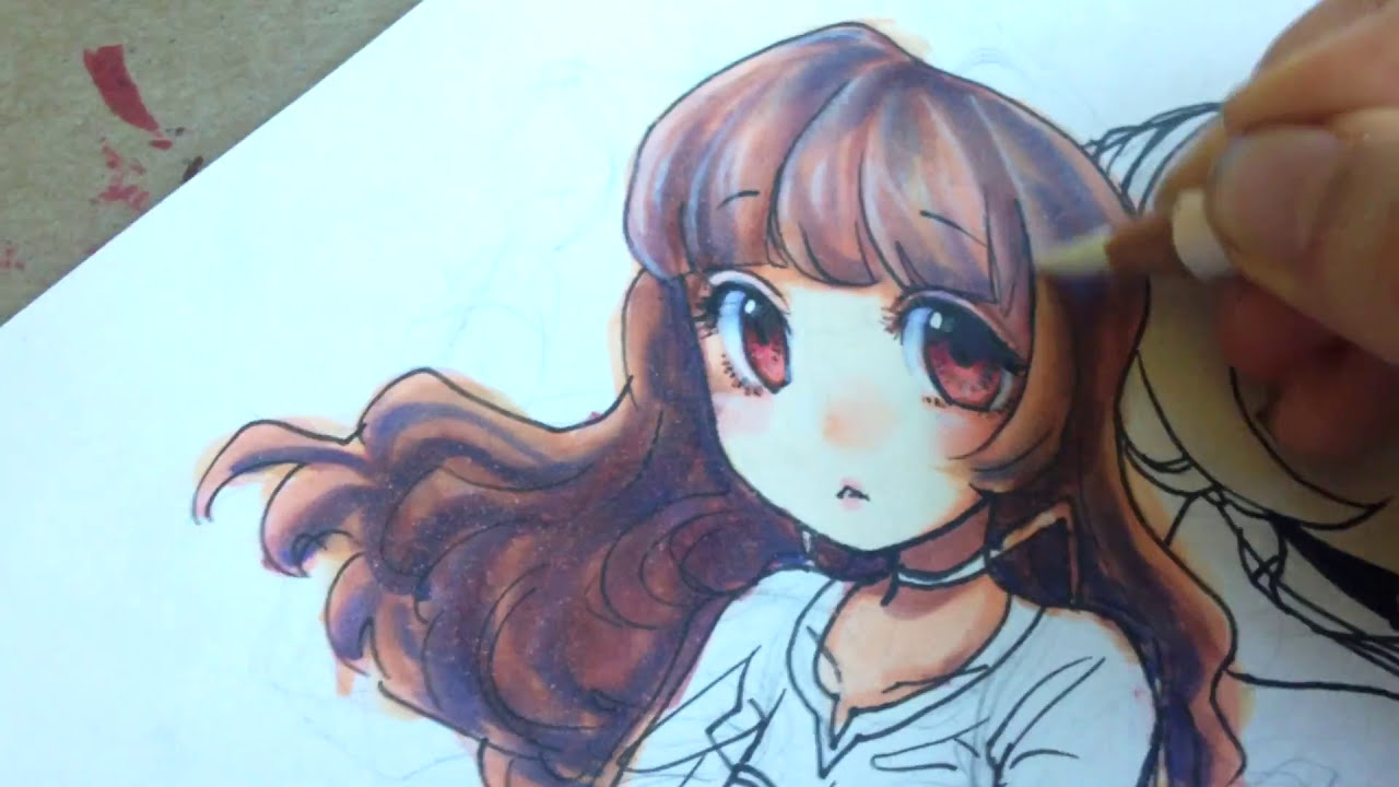 coloring anime hair with copic