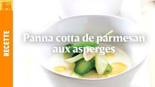 Panna cotta de parmesan aux asperges et au sirop d'orange