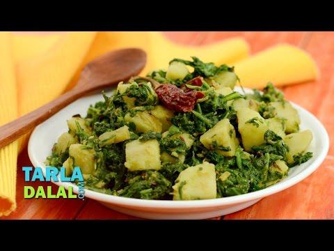 Aloo Palak Dry Sabzi, Aloo Palak Sukhi Recipe by Tarla Dalal