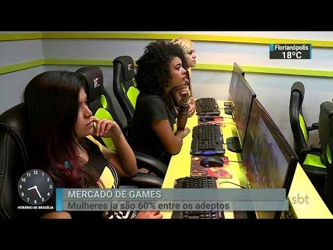 Mulheres dominam o mercado de games no Brasil, revela pesquisa   SBT Brasil (04/08/18)