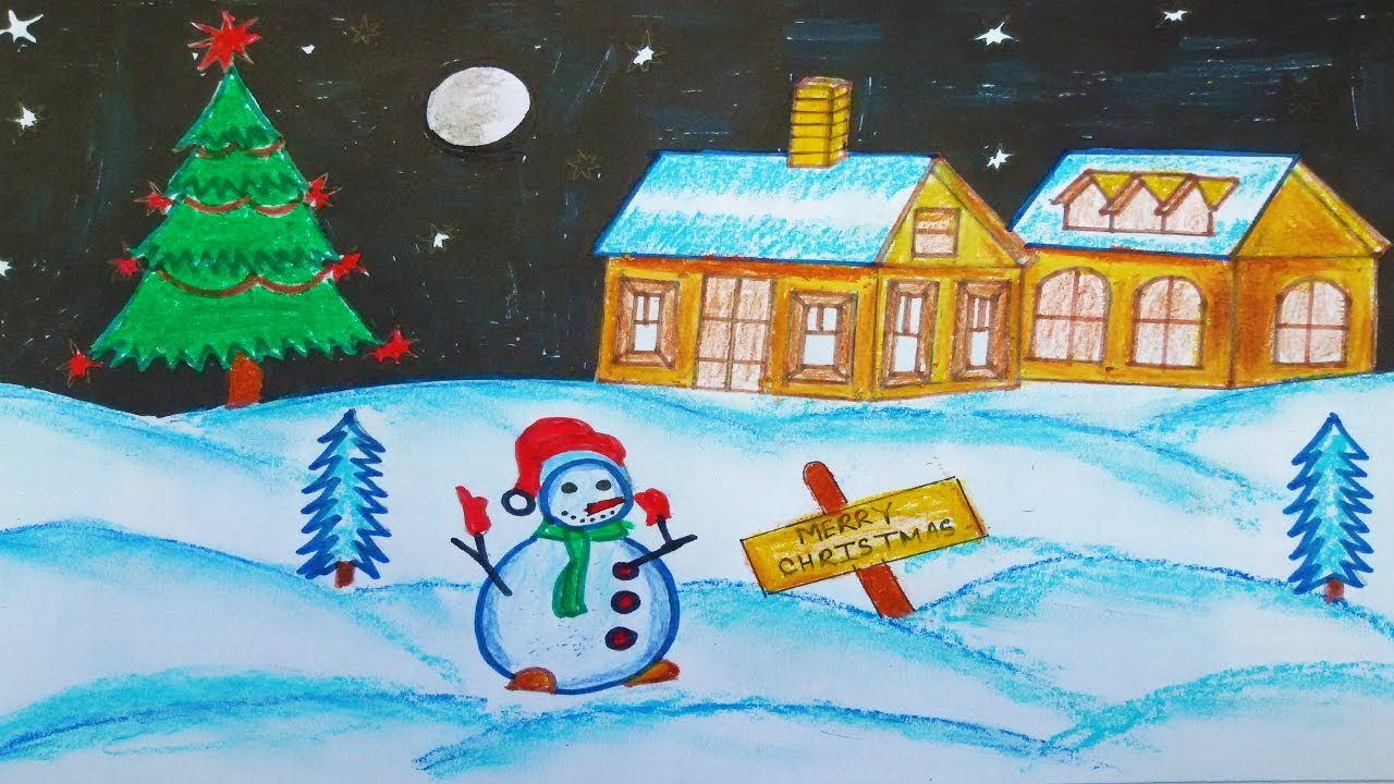 christmas scenery drawing how