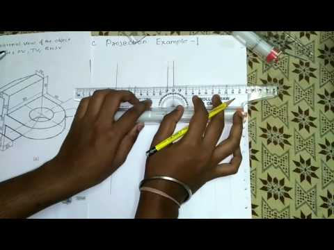 Orthographic Projection Example:-1 [Hindi]