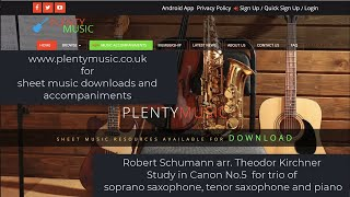 Schumann R. arr Kirchner T.   Study in Canon No.5 arr soprano saxophone tenor saxophone & piano