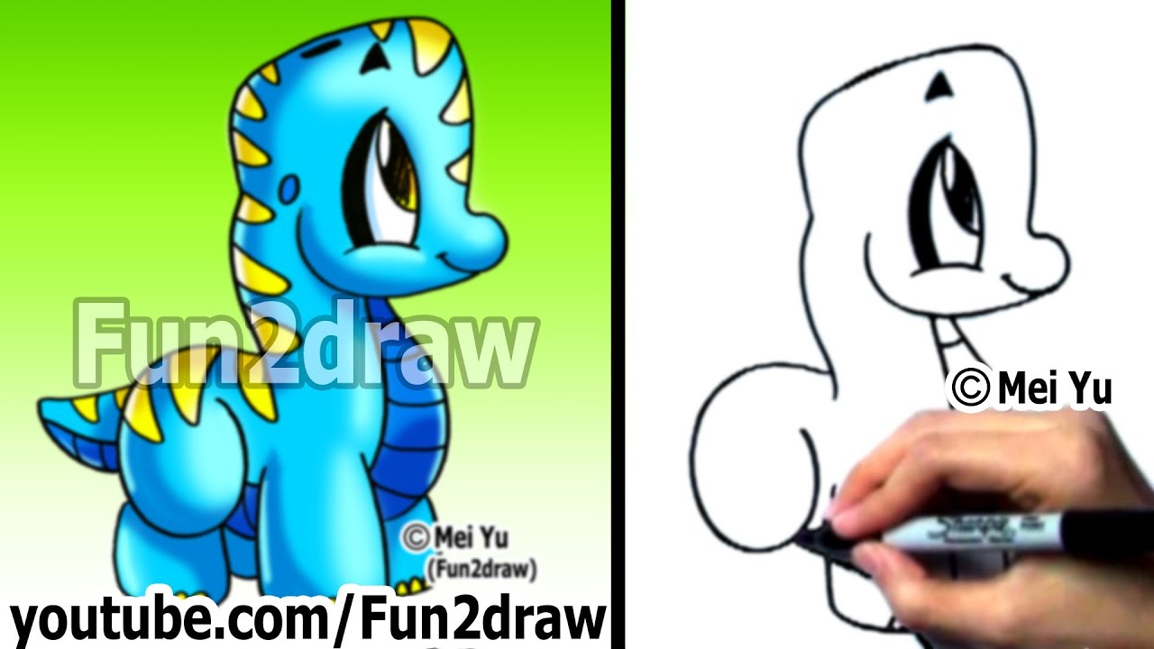 Easy Drawings How To Draw A Cartoon Dinosaur Drawing