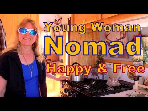 -Living Happy and Free--Young Woman in a Scamp 5th Wheel