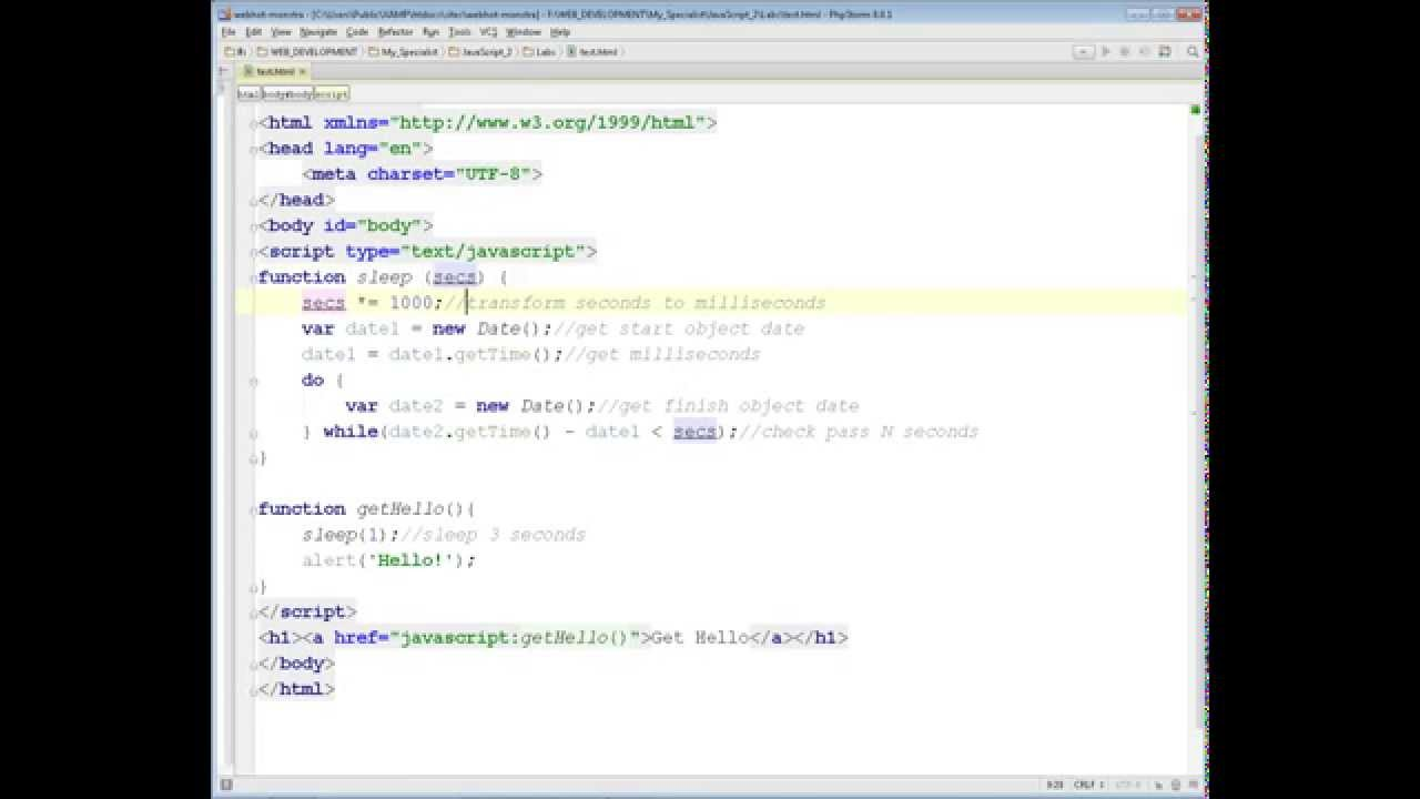 Write JS function 'sleep' similarly as in PHP - YouTube