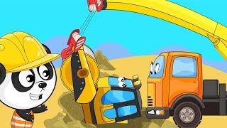 Koparka, ciężarówka, dźwig wałek Bagrownica po polsku Film dla dzieci o koparce: Kopanie koparką