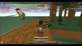 mikasa ackerman plays roblox and fights annie in titan form fail
