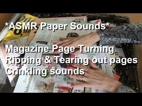 ASMR Paper Sounds| Magazine Page Turning| Ripping And Tearing Out Pages| Crinkling Sounds|