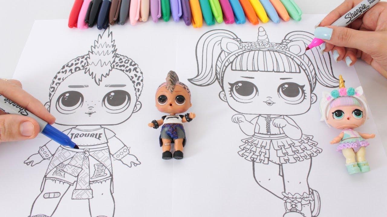 Colorindo Com 3 Cores Boneca Lol Surpresa Punk Boi E Unicornio 3