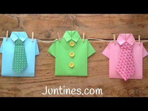 Camisa de origami para hacer con niños en casa