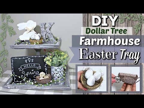 DIY Dollar Tree Easter Decor | Farmhouse Easter Tiered Tray | Krafts by Katelyn