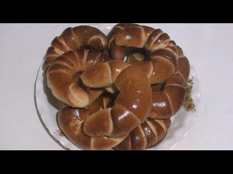 Рогалики дрожжевые с фруктовой начинкой  (дрожжевые булочки).Мастер класс.