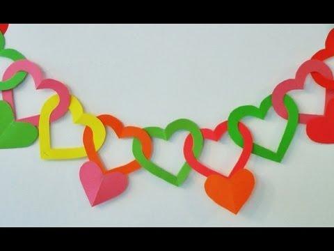 Guirnalda de corazones - Adornos para colgar - Manualidades para todos