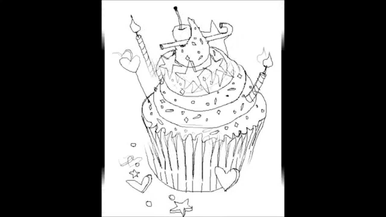 how to draw a cute cupcake step by step