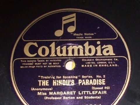 """Training for Speaking Series no 2 """"The Hindu's Paradise"""" by  Miss Margaret Littlefair Col 4394"""