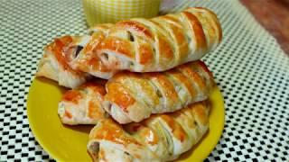 Косички из слоёного теста с курицей и грибами | Завтрак | Полдник | Быстрый перекус