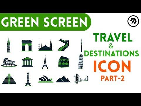 Green Screen Travel & Destinations Icon Part 1 | mrstheboss