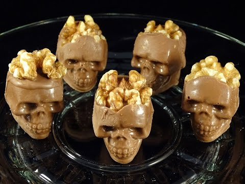 Candy Melt Demo #12:  Chocolate Skulls With Walnut Brains