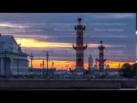 Sunset over Strelka - Spit of Vasilyevsky Island with the Old Stock Exchange and Rostral Columns