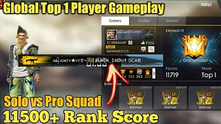 GLOBAL TOP 1 PLAYER - SOLO VS SQUAD MATCH -Garena Freefire battleground - JONTY GAMING