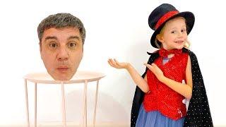 Nastya e pai mostram truques para crianças e uma história sobre o gato engraçado
