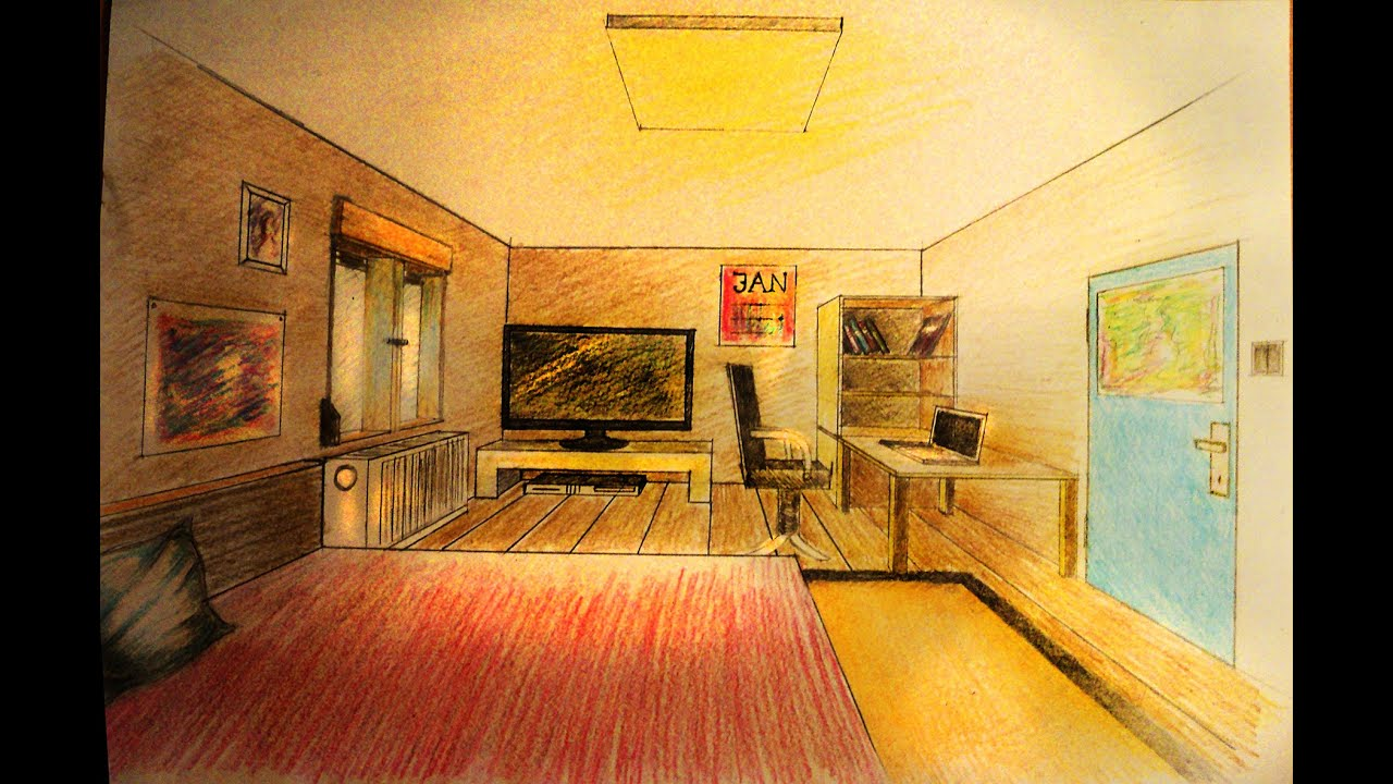 How to draw one point perspective bedroom with for Interior designs drawings