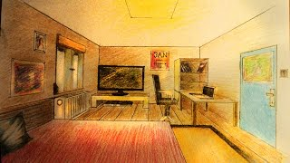How to draw - One point perspective - bedroom with furniture
