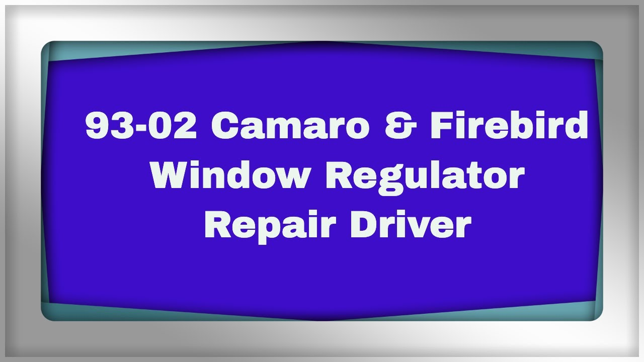 Camaro      Firebird    Window Motor Replacement  YouTube
