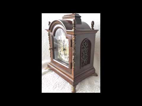 Mint Vintage Dutch Warmink 8 Day Nut Wood Bracket/Mantel Clock Moon Phase, Silent Mode