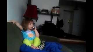 Very cute and funny little girl's phone talk imitation