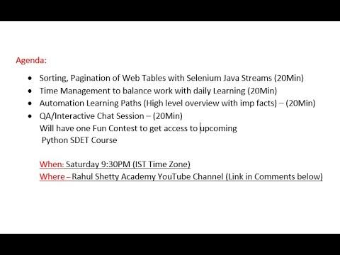 Live Webinar (QA Career tips/Guidance) /Chat Session - Rahul Shetty