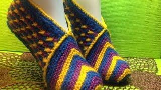 Вязание спицами домашние тапочки #89
